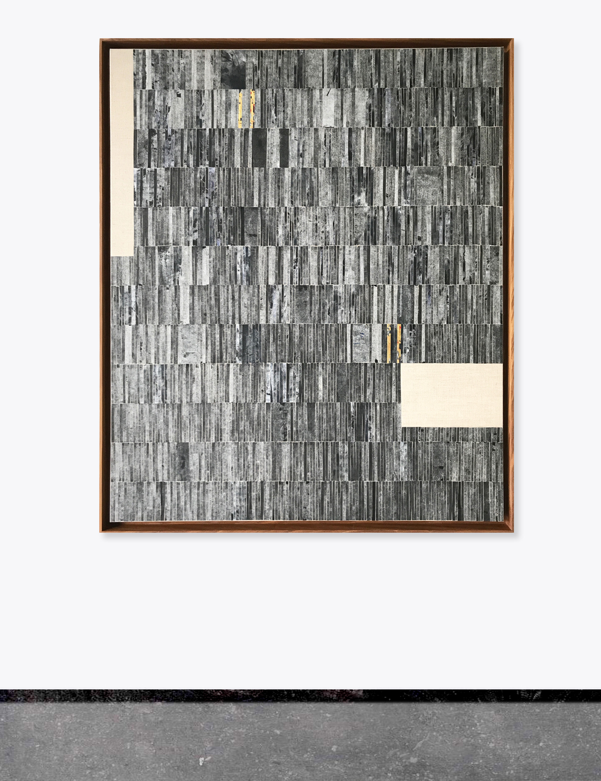 Martine Jansen Collage Glimp - oil/paper/gold foil on canvas / afrormosia frame
